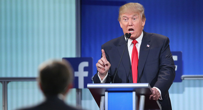Donald Trump at Facebook-sponsored GOP primary debate in 2016